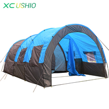 1x 480*310*210cm big doule layer tunnel tent 5-10 person outdoor camping family party hiking hunting fishing tourist tent house(China (Mainland))
