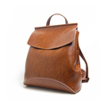 Solid Color Retro Cowhide Backpack Fashion Simple Flap Casual Bag Women High Quality Genuine Leather Backpack