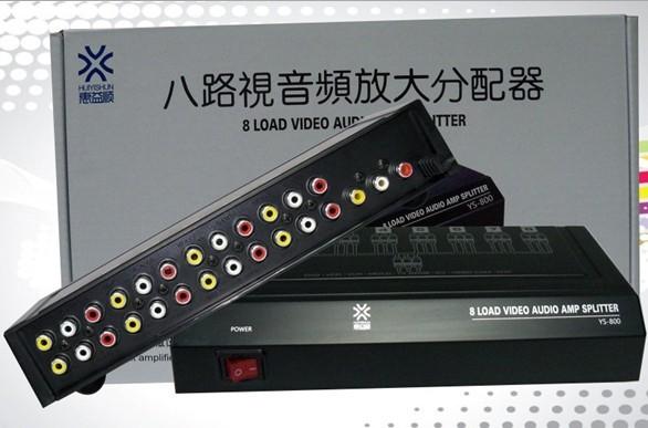 8 Way 1 3 RCA Video Audio AV Amplifier Splitter HDTV DVD VCD Ports Load Switch