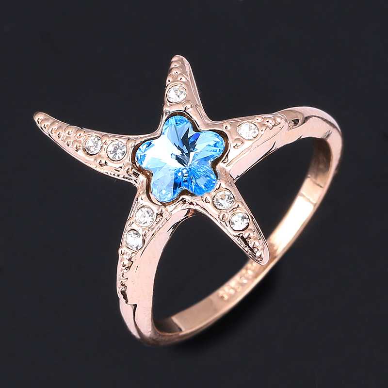 Starfish Shine Designer CZ Diamond Party Rings Wholesale 18K Rose Gold Plated Crystal Engagement Jewelry For Women Anel OBR327(China (Mainland))