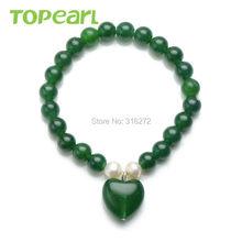 Topearl Jewelry 5pcs Heart Charm Bracelet for Kids 6mm Round Green Malaysia Jade Stretch Beaded MJB18(China (Mainland))