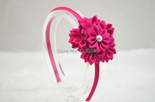 2014 free shipping Baby Girls Satin Ribbon Flower Headband With Pearl For Photography Props Infant Baby