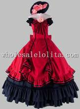 Gothic Black and Wine Red Off the Shoulder Victorian 1870/90s Dress