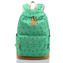 "Women Laptop Bag Case 13 14"" Cute Printing Canvas Nubuck Leather Rucksack Mochila Computer Notebook Bag Backpack for Girls(China (Mainland))"