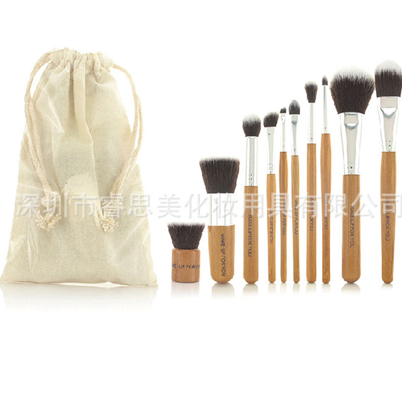 New !! 10 PCS Professional Cosmetic Brush Set Tools Makeup Brush by Bamboo Handle With Drawstring Bag Beauty maquiagem 016(China (Mainland))