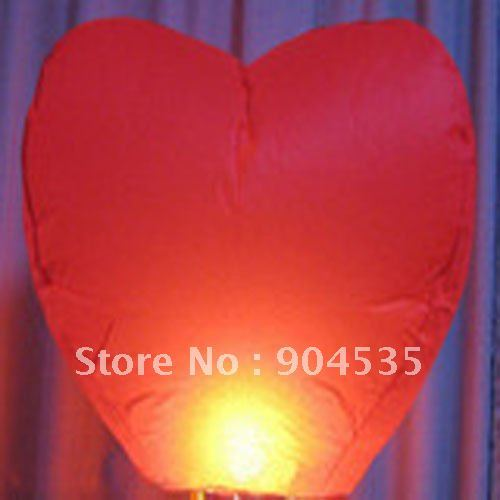 Wholesale 50/lot Love Heart Sky Lanterns Wishing Lamp SKY CHINESE Paper LANTERNS for BIRTHDAY WEDDING Party with Free shipping
