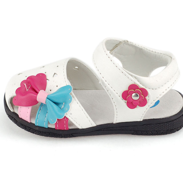 Summer female two-color bow small flower sandals outdoor shoes bbped