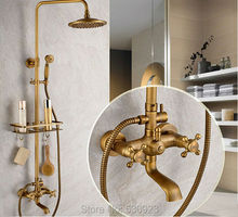 New Arrival Bathroom Retro Shower Set Faucet W/ Commodity Shelf And Hangers Antique Brass Mixer Tap Dual Handles Wall Mounted(China (Mainland))