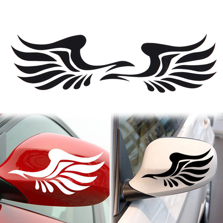 Fashion 1 Pair Personality Fire Wings Pattern Side Mirror Car Stickers Decorative Yellow White Black Drop Shipping CAR-0066(China (Mainland))