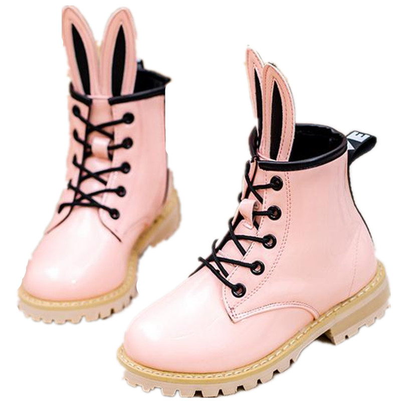 4-12 Years Old Winter Children Shoes Female Child Rabbit Ear Cartoon Princess Style Girls Leather Boots Size 26-37