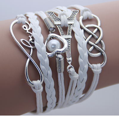 2014 new Fashion jewelry leather Double infinite multilayer bracelet factory price wholesales(China (Mainland))