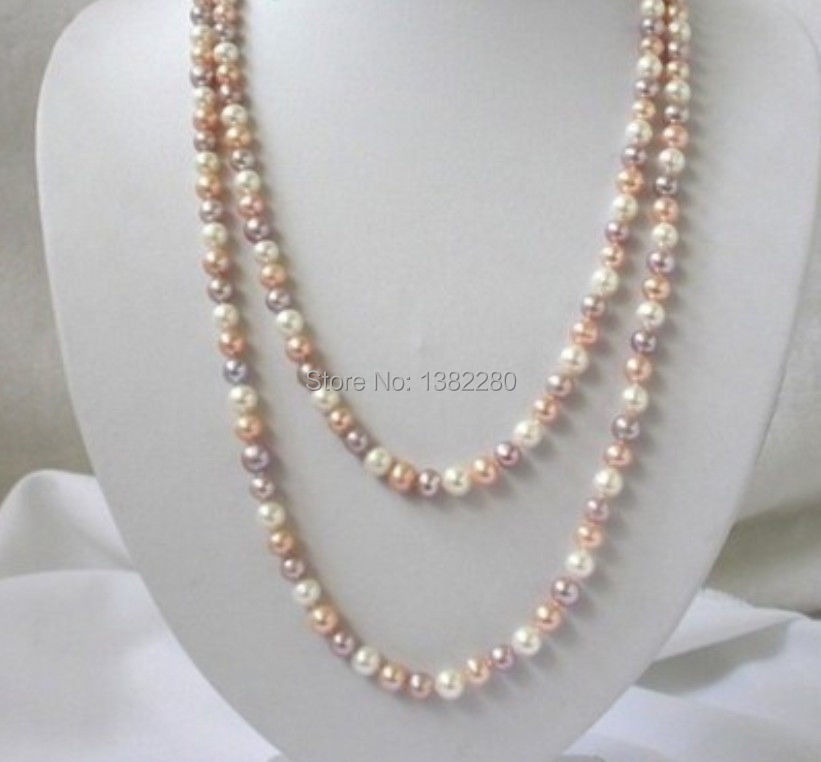 Discounts!7-8mm Multicolor pearl long necklace 50 inch DIY women jewelry making design fashion style wholesale free shipping(China (Mainland))