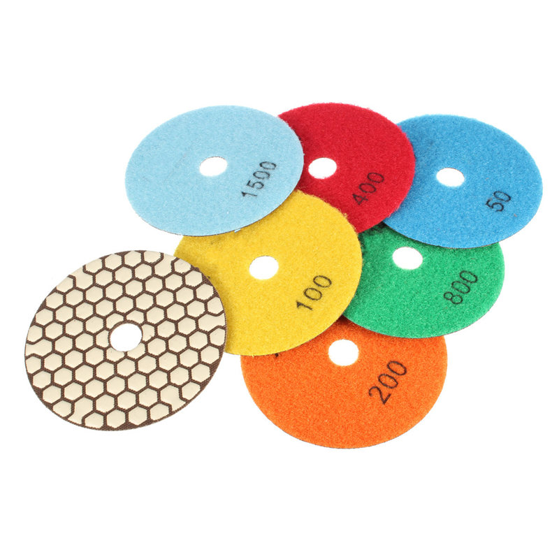 Hot Sale 7Pcs/set 4 Inch 100mm Diamond Dry Polishing Pads Set For Quartz Stone Granite Marble Best Promotion(China (Mainland))