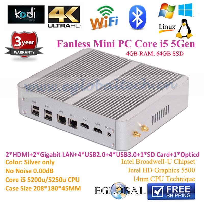 4GB RAM 64GB SSD Eglobal Fanless Mini PC Windows10 with Intel Core i5 5257u Small Computer Desktop 2Lan Linux(China (Mainland))