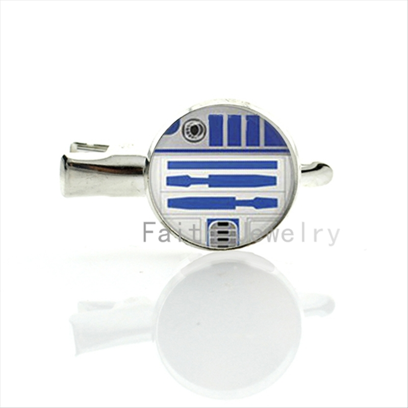 Leisure women hair accessories case for Starwars R2D2 hairgrips charm silver plated handmade glass alloy hairpins T170(China (Mainland))