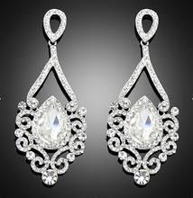 2016 New Fashion Women Wedding Jewelry Austrian crystal long crystal drop large crystal bride earrings for women big earrings(China (Mainland))