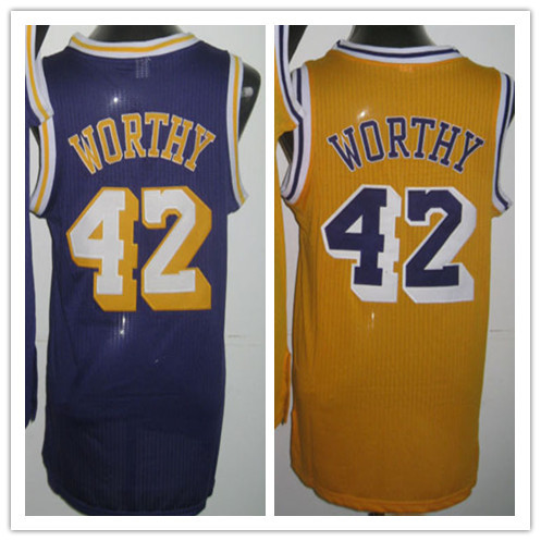 Favorable Price 42 James Worthy Retro Throwback Jersey Los Angeles Yellow Purple Top Basketball Shirt Embroidered Sports Jersey(China (Mainland))