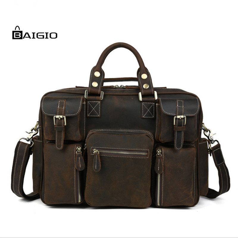 Baigio Leather Travel Bag Mens Weekend Tote Duffle Bags Vintage Brown Italian Leather Crossbody Large Hand Luggag Shoulder Bag(China (Mainland))