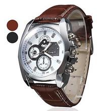 Nuevo estilo de moda tres ojos cuarzo reloj hombres deportes correa de cuero Casual Watch horas vestido reloj Relojes Brown caliente de la venta