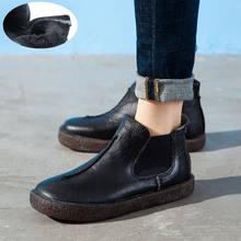 2019 kadın İngiltere tarzı marka yeni kadın hakiki deri düz çizmeler ayakkabı bayan sonbahar yarım çizmeler kış Retro Martin çizmeler(China)