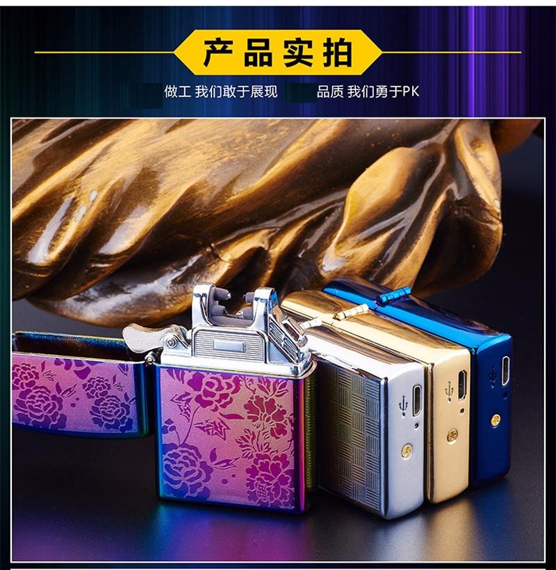 ถูก 1ชิ้นบุหรี่อิเล็กทรอนิกส์เบาWindproofโลหะบางเฉียบชีพจรUSBชาร์จFlamelessไฟฟ้าArcชีพจรซิการ์บุหรี่