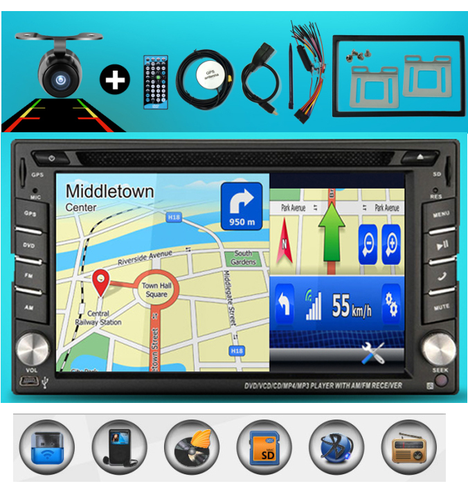 100% New universal Car Radio Double 2 din Car DVD Player GPS Navigation In dash Car PC Stereo Head Unit video+Free Map+Free Cad!(China (Mainland))