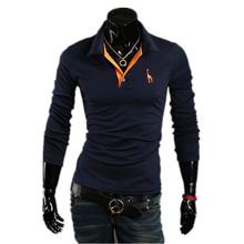 Hot Sale 2015 New Man Tops Fashion Brand Designer Giraffe Casual Slim Fit Long sleeve Campaign polo shirt Men's Clothing