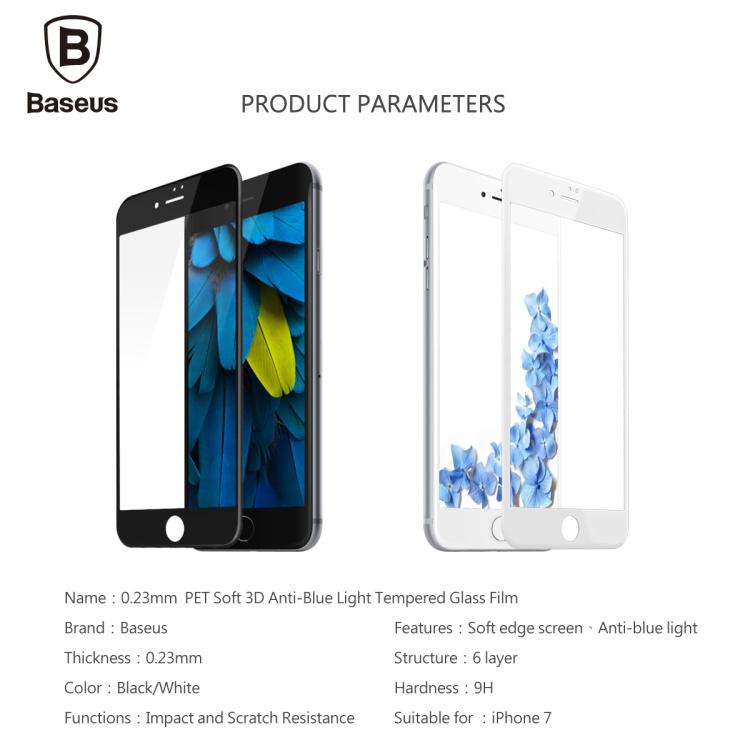 - HTB1Oo22NXXXXXXQXpXXq6xXFXXXz - Baseus 0.23MM Tempered Glass Film For iPhone 7 7 Plus 9H Hardness PET Soft 3D Curved Full Cover Anti-Blue Light Screen Protector