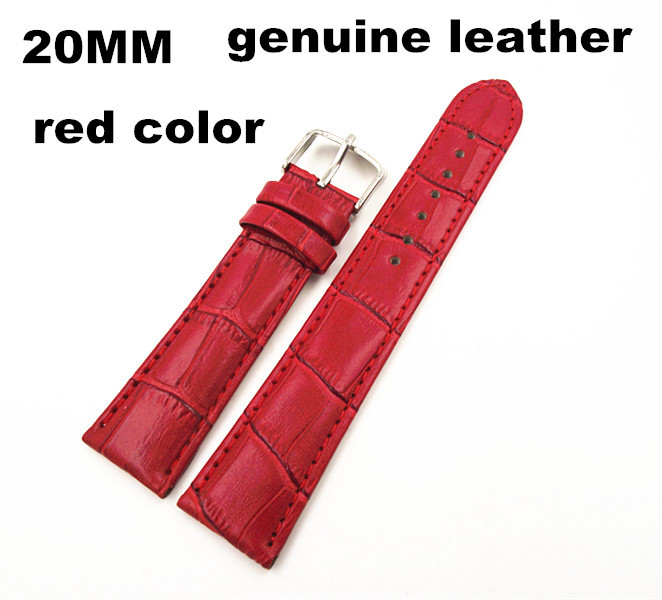 1PCS High quality 20MM genuine leather Watch band watch strap red color-070706(China (Mainland))