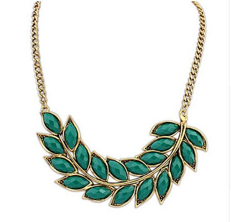 top quality 2016 Hot Fashion Crystal Necklace Women Bib Statement Collar Chain Vintage Bohemian leaves pendant & necklace(China (Mainland))