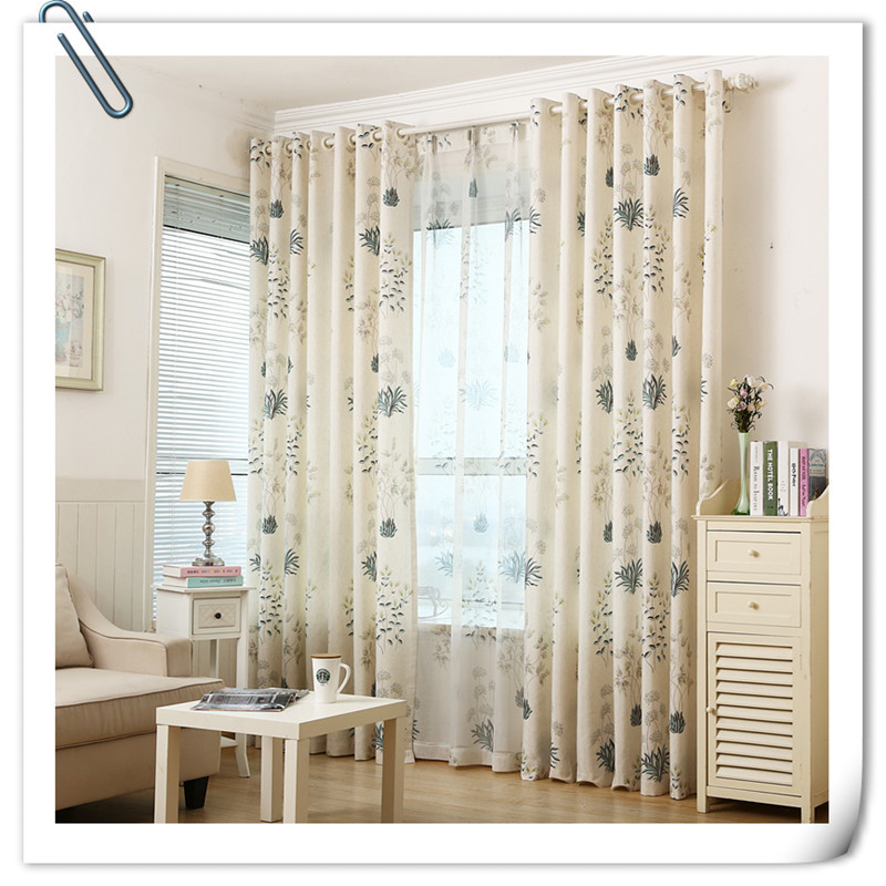 Luxury fashion style blackout curtains kitchen curtains window living room modern and simple aquatic plants design cortinas(China (Mainland))