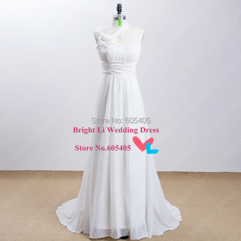 Ivory Color One Shoulder Halter Wedding Dresses Bridal Gowns Real Picture High Quality 2015 Cheap Vestidos De Novia Longo(China (Mainland))