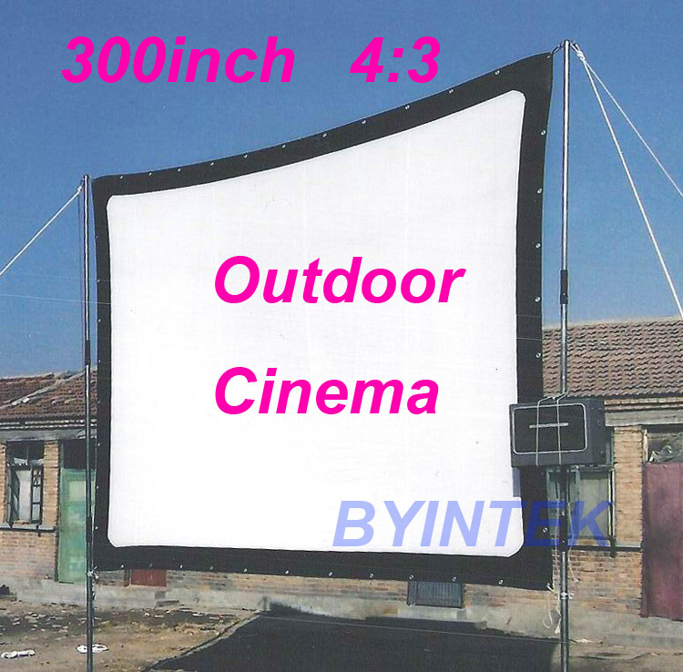Matte White Soft fabric Home Theater 300inch 4:3 Projection HD Video Projector Simple Cinema Screen with holes Free Shipping(China (Mainland))