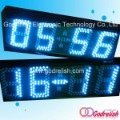 Indoor blue led clock with temperature