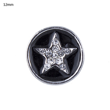 NSB6070 Hot Sale 2 Colors 12mm Snap Buttons Jewelry Fashion DIY Charms Antique Crystal Unique Pentacle Design Metal Buttons