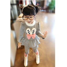 2016 Child Christmas Sets Baby Girls Clothes Suit Bow Rabbit Ears Fur Collar Suit Long Sleeve Tops T-shirt Dress Leggings Pants