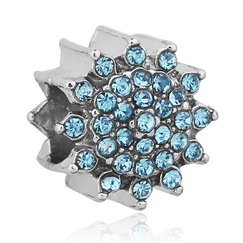Authentic Silver Plated Blue Crystal Snowflake Charm Bead Fit Pandora Bracelet Necklace Original Accessories(China (Mainland))