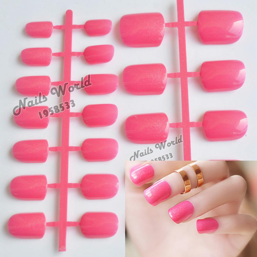 24pcs Hot Acrylic Nail Tips Candy Color Fake False Nails Short Quadrate Head Glitter Hot Pink 079(China (Mainland))