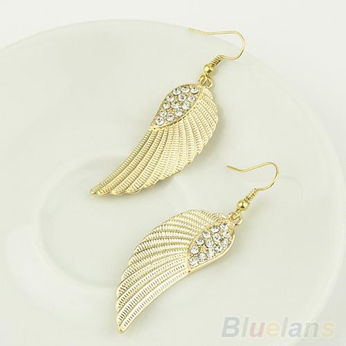 Women's Hot New Fashion Rhinestone Angel Wings Earrings Silver Gold 1N4O(China (Mainland))