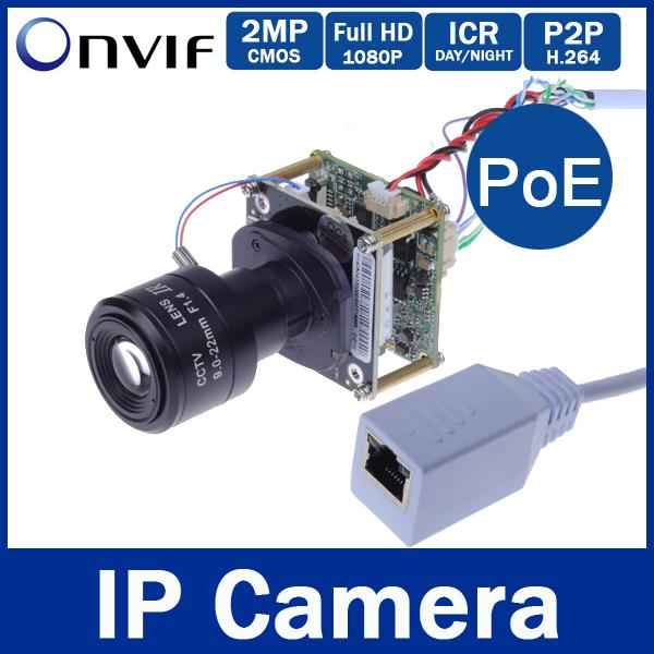 HD P2P IR-CUT Filter 2MP / 2 Megapixel 1920*1080P 9-22mm Manual Zoom Lens Onvif Ip Camera 1080P Board Mini PoE Cable IP Camera
