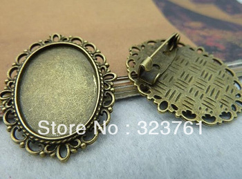 100pcs 30x35mm-18x25m pad Antique Bronze Flowers Oval Filigree Cameo Cabochon Base Setting Brooch c2425<br><br>Aliexpress