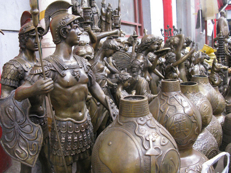 wholesale factory 8″ China bronze copper carved Town house Foo Dogs Lions Seal Sculpture Statue