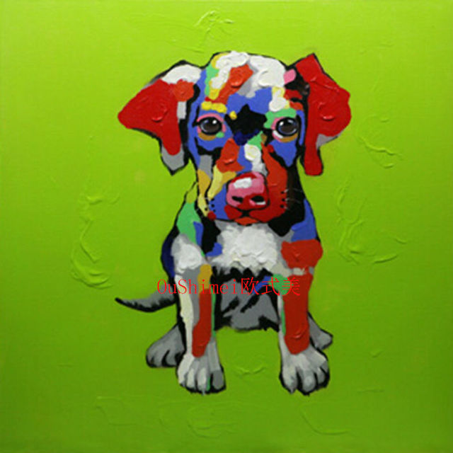 Factory Price Painting Pet Dog Oil Painting Colorful