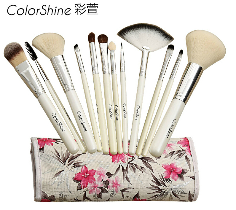 Pretty high-grade 12 pcs professional makeup brush set Cosmetic Brushes animal wool brushes wood handle 3 colours choosen Mac(China (Mainland))