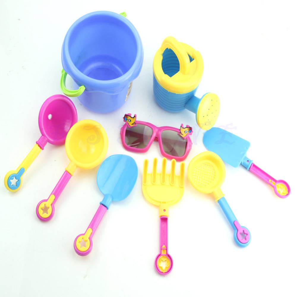 9Pcs Beach Sand Toy Spade Shovel Pit Play Kids Water Plastic Toy Set Sunglasses New(China (Mainland))