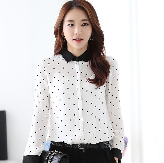 women blouses vetement femme polka dot blusa 2015 camisa feminina plus size women tops elegant. Black Bedroom Furniture Sets. Home Design Ideas
