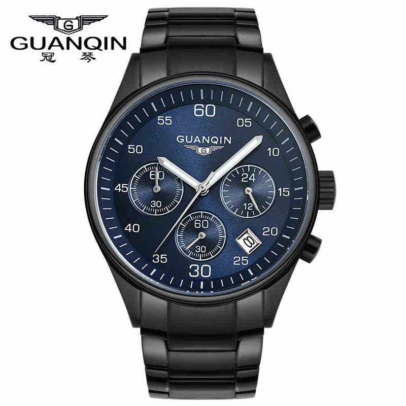 Luxury Brand GUANQIN Men Stainless Steel Sapphire Luminous Gold Quartz Watches Hunter Series Three Eye Stopwatch waterproof 0750<br><br>Aliexpress
