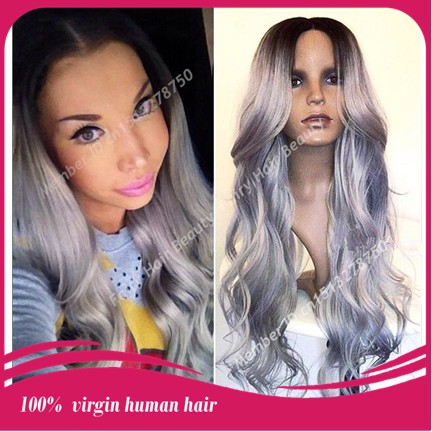Fashion Best 7a grade silver grey hair virgin brazilian hair loose wave ombre front lace wig two tone color free shipping(China (Mainland))