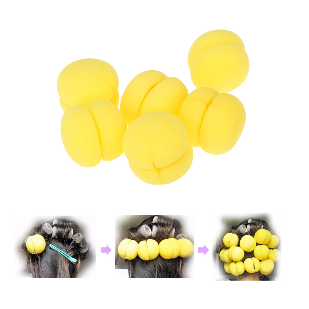 6pcs/pack Magic Beauty Soft Sponge Hair Care Foam Balls Lovely DIY Hair Sponge Rollers Twister Curler(China (Mainland))