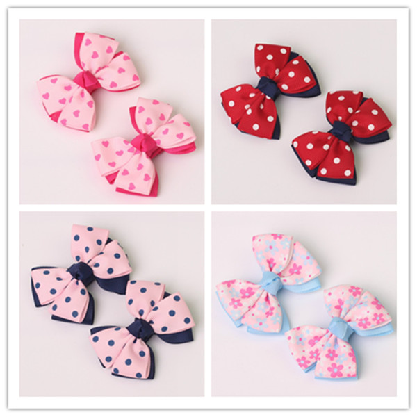 2pc boutique barrettes children baby hair ribbon bows clips girls hairpins double clip accessories headdress Hairgrips